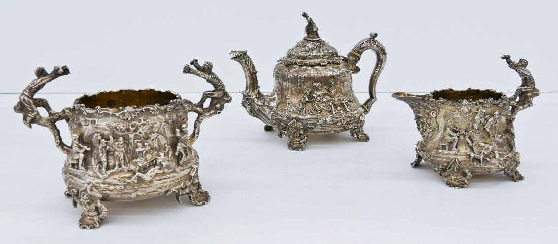 3pc Impressive Edward Farrell Regency Silver Tea