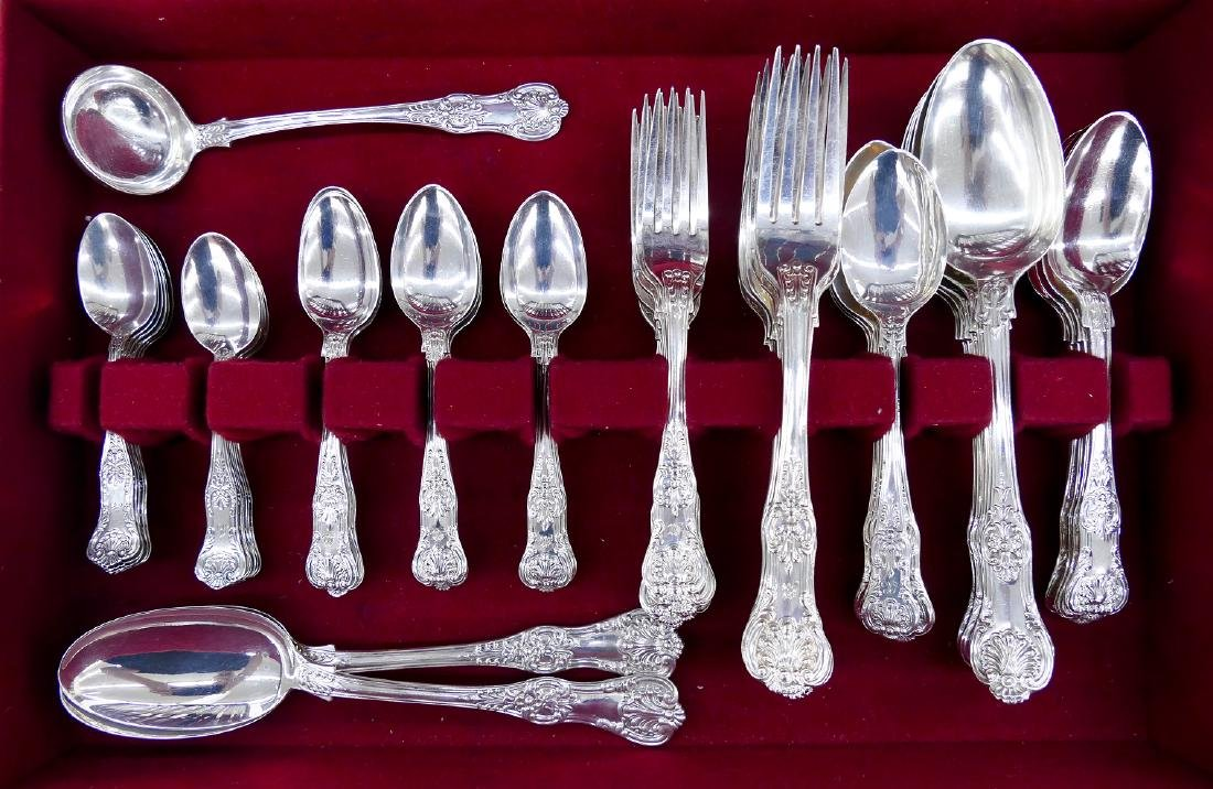 60pc Queens Pattern Heavy Sterling Flatware. A mixed