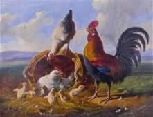 Albertus Verhoesen (1806-1881 Dutch) ''Chicken Family''