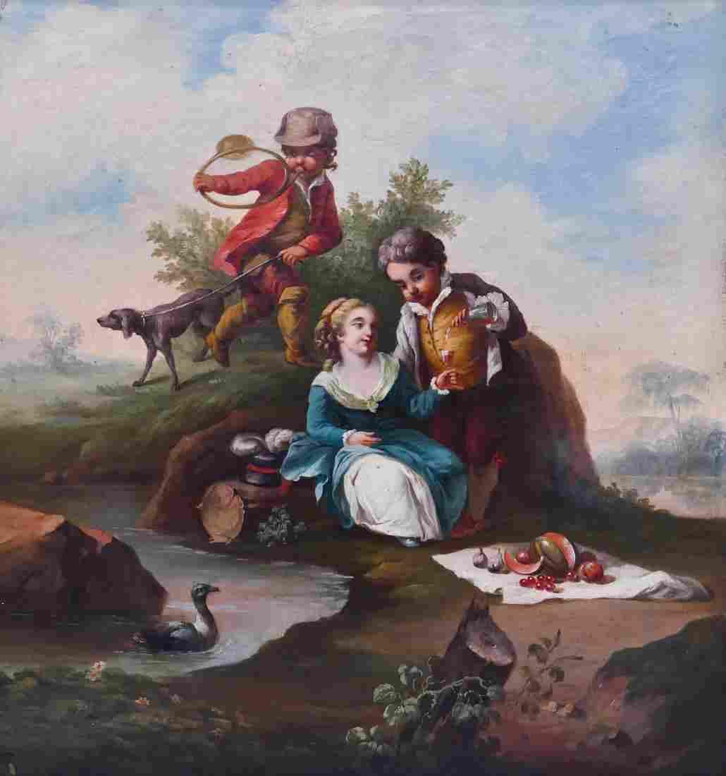 Antique Italian Children in Landscape Oil on Canvas