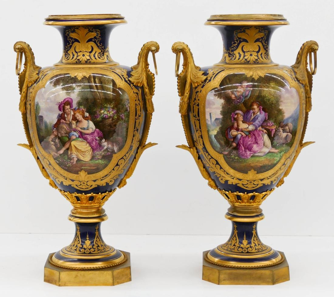 Pair of Large Sevres Ormolu Mounted Porcelain Urns