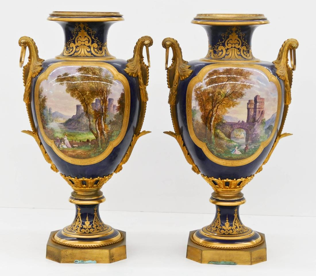 Pair of Large Sevres Ormolu Mounted Porcelain Urns - 5