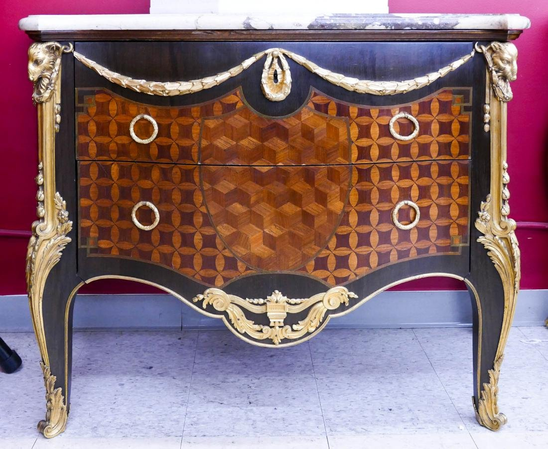 Impressive French Ormolu Mounted 2-Drawer Chest