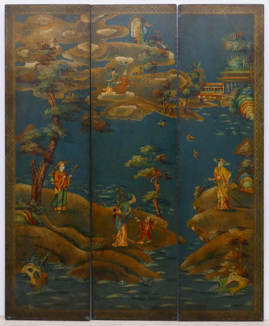Chinoiserie Painted Triple Wall Panel ...