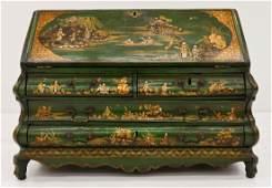 Antique English Chinoiserie Miniature Secretary Desk