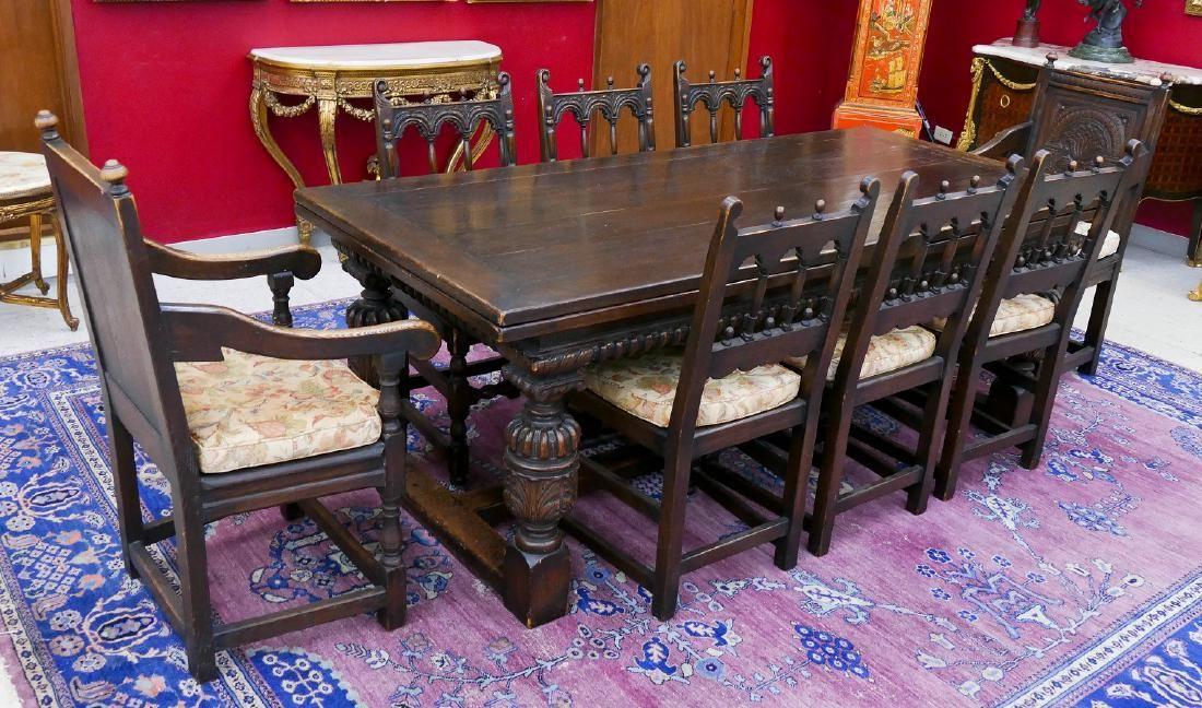 Antique English Tudor Style Carved Oak Dining Set.