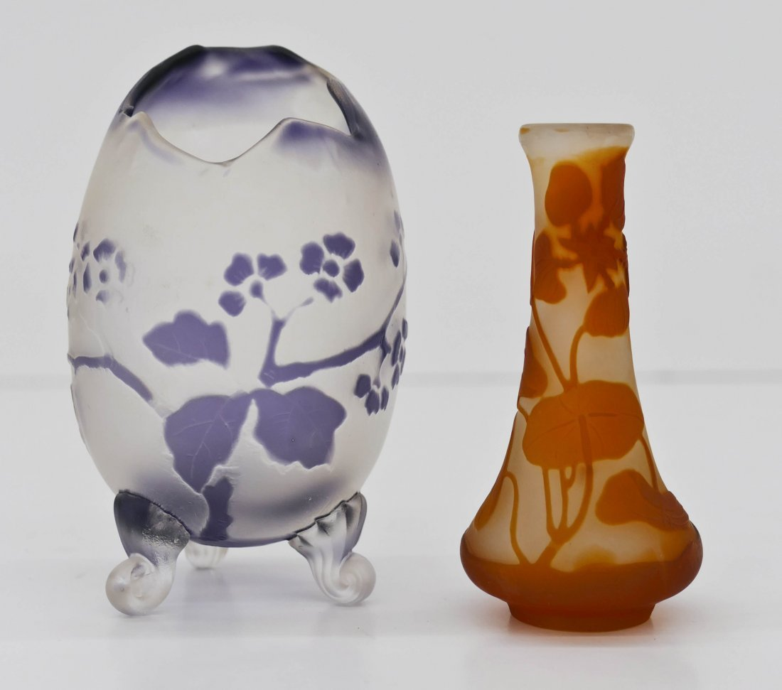 2pc Galle & Fritz Heckert Cameo Glass Miniature Vases.