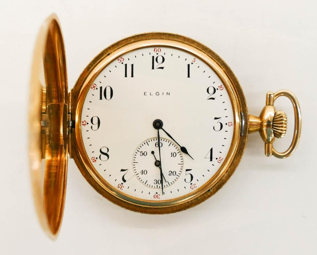 14k Elgin Model 2 Gold Pocket Watch Size 12s. Manual 17