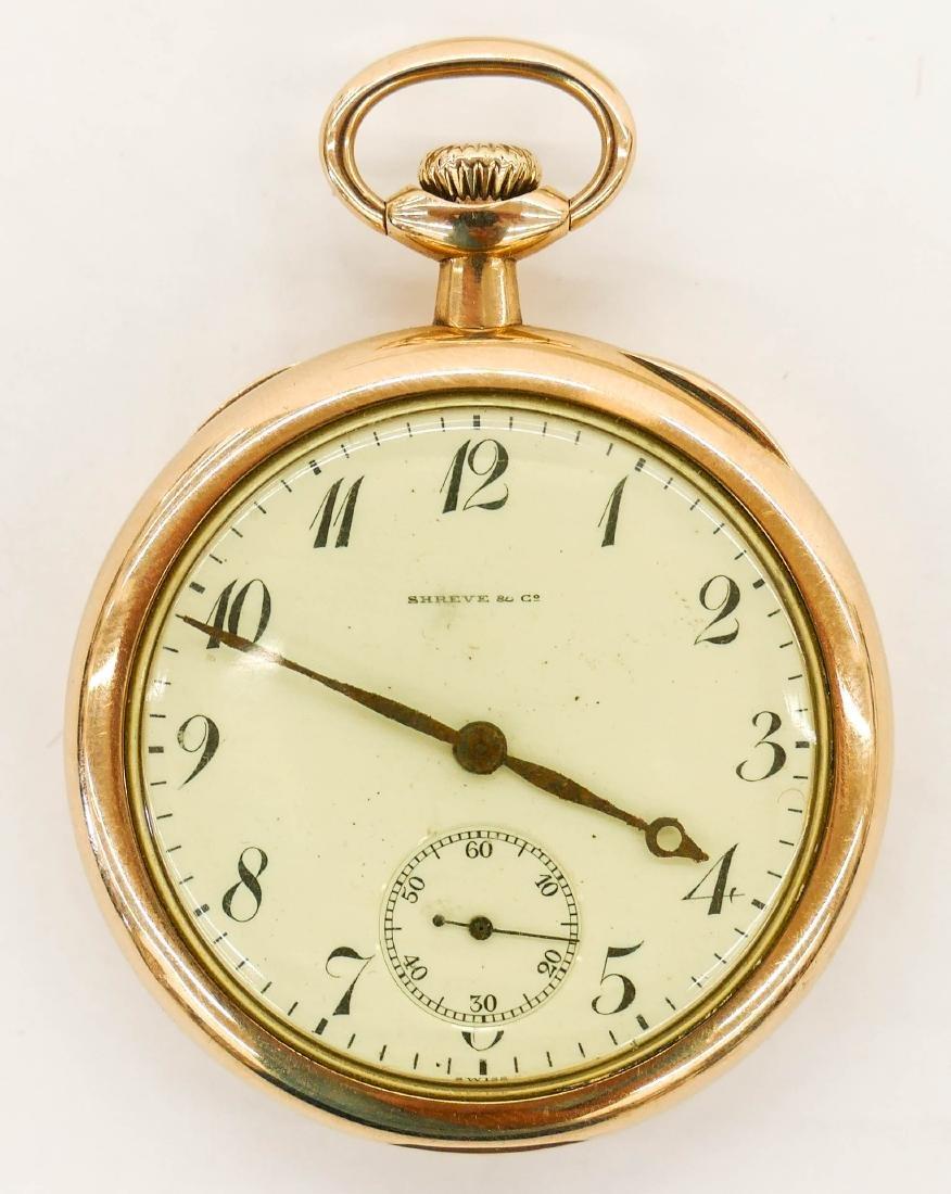 14k Shreve & Co. Gold Pocket Watch Size 5s. Manual 17