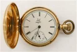 14k Elgin Model 1 Gold Pocket Watch Size 6s Manual 15