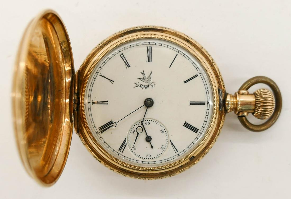 14k Elgin Model 1 Gold Pocket Watch Size 6s. Manual 15