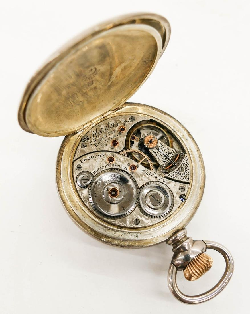 Elgin Veritas 214 Sterling Pocket Watch Size 18s. - 3