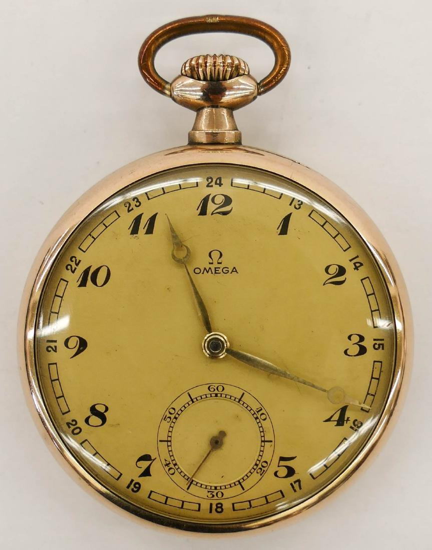 Omega 15 Jewel Gold Filled Pocket Watch. Serial number