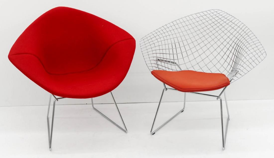 Pair Harry Bertoia for Knoll Diamond Chairs. Includes