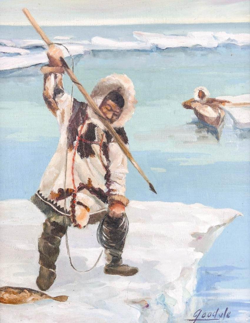 Harvey Goodale (1900-1980 Alaska) ''Inuit Hunting'' Oil
