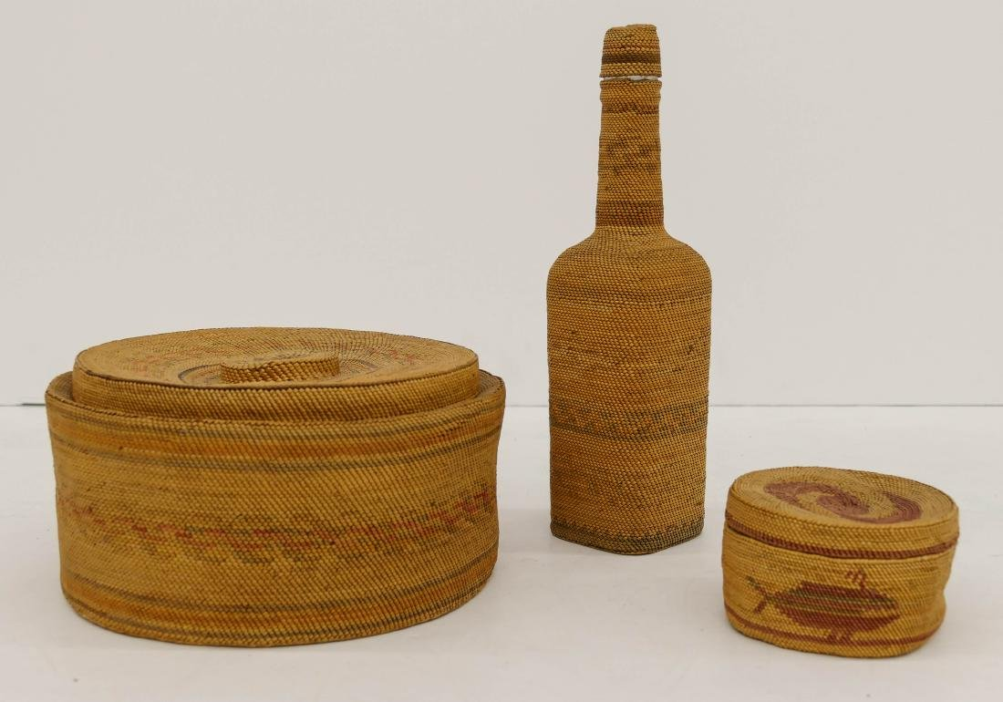 3pc Antique Makah Covered Indian Baskets & Bottle.