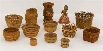 13pc Northwest Coast Indian Baskets  Doll Sizes range