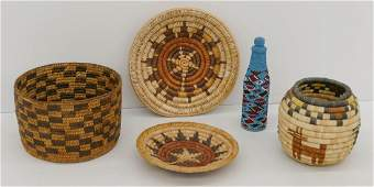 6pc Southwest Indian Baskets & Beaded Bottle. Includes