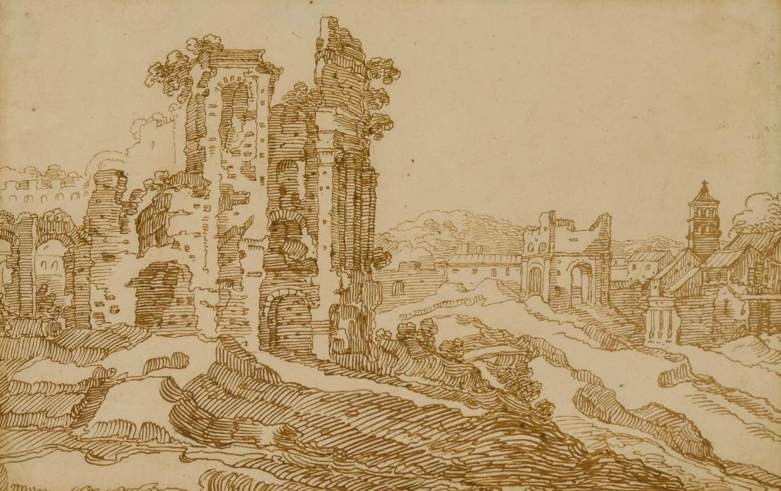 Flemish 17th Century Drawing of Ruins Ink on Paper