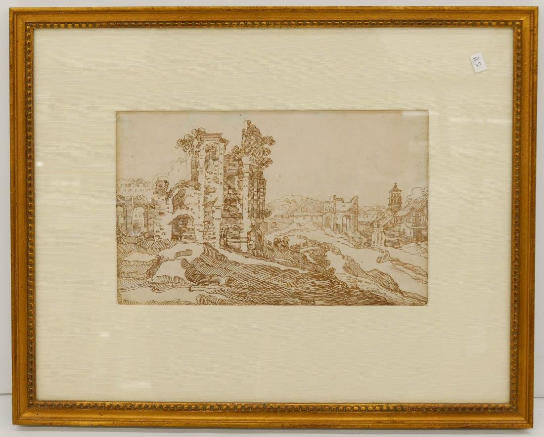 Flemish 17th Century Drawing of Ruins Ink on Paper - 2
