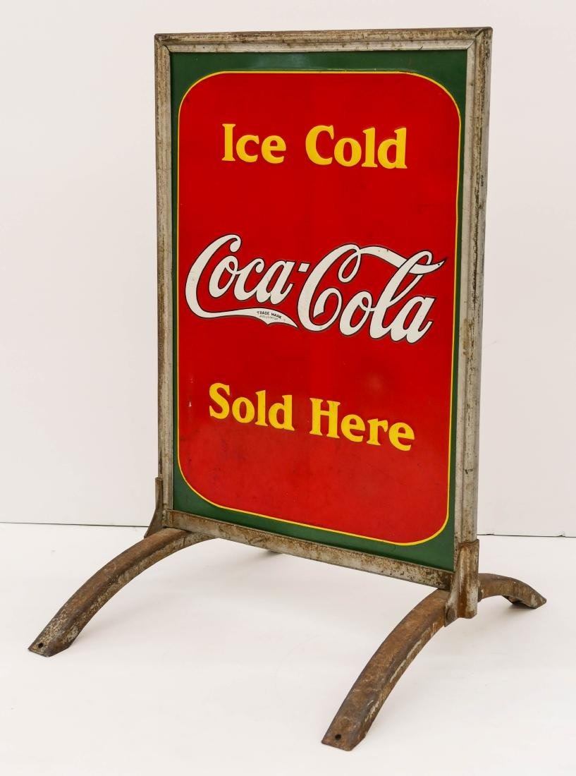 1938 Coca-Cola Double Sided Tin Sidewalk Sign