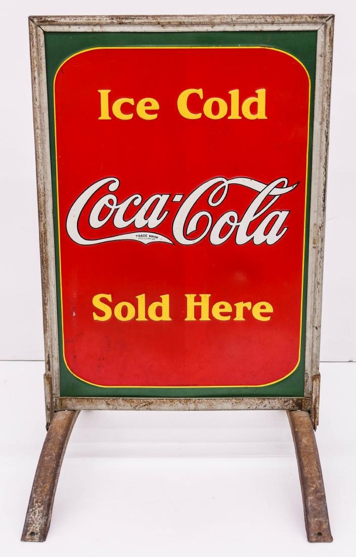 1938 Coca-Cola Double Sided Tin Sidewalk Sign - 2