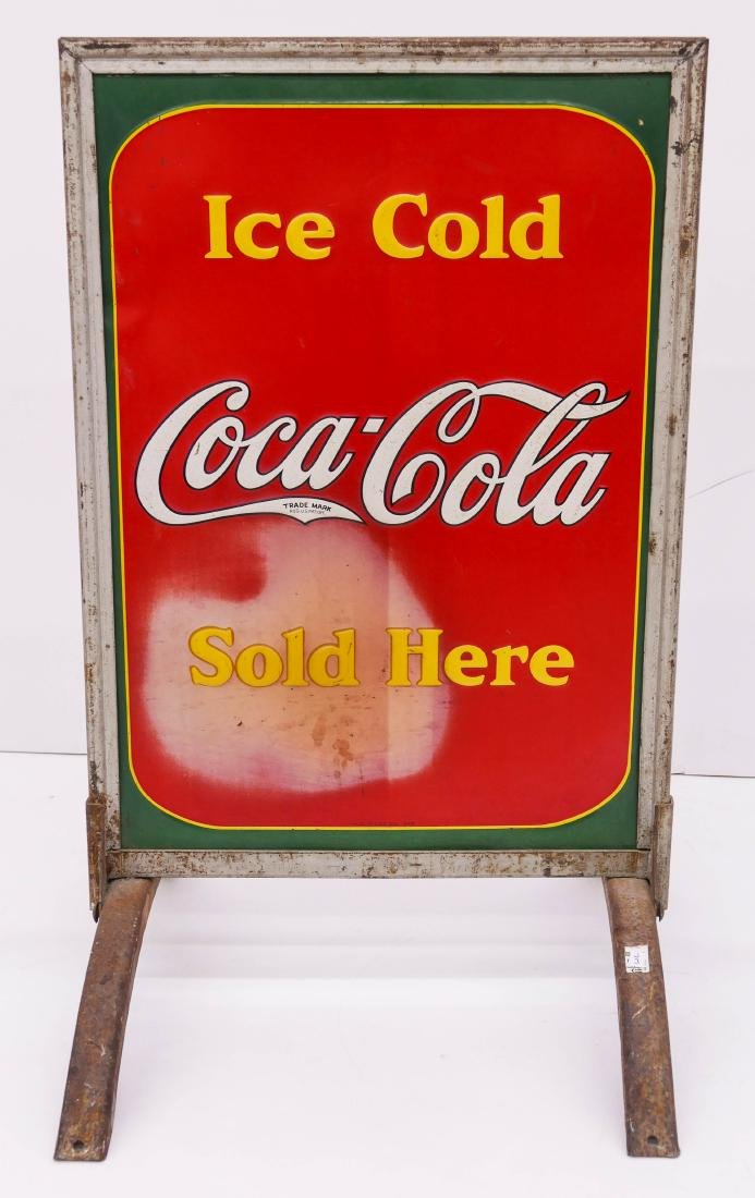 1938 Coca-Cola Double Sided Tin Sidewalk Sign - 3