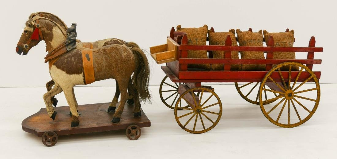 Antique Horse Drawn Wagon Pull Toy 12''x32''x10''.
