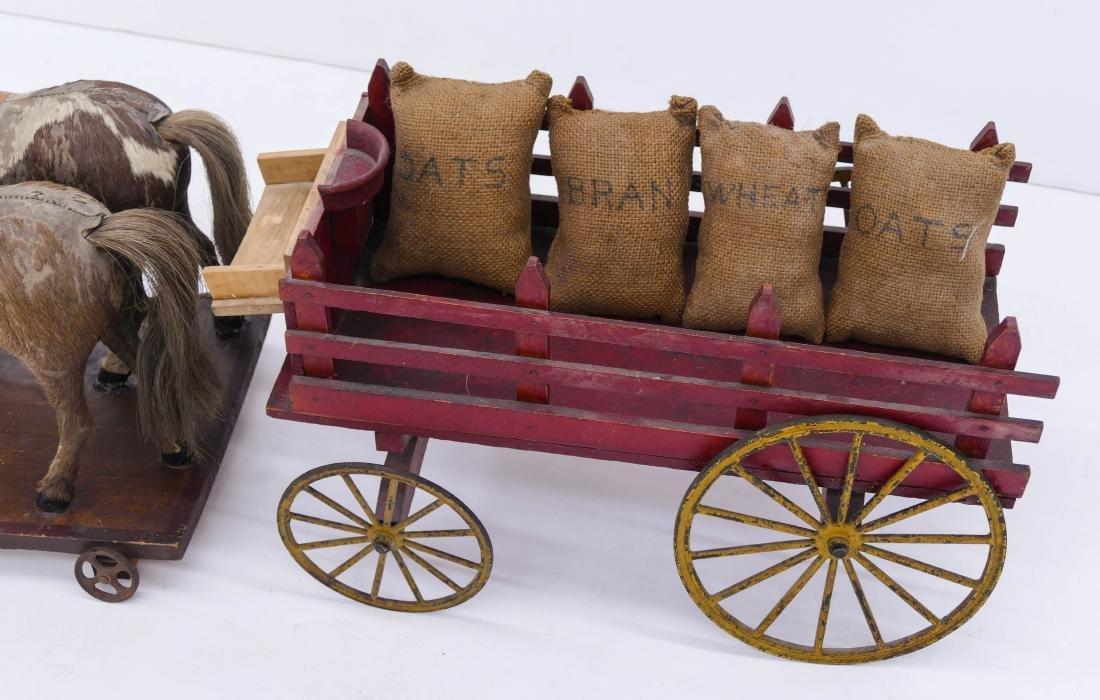 Antique Horse Drawn Wagon Pull Toy 12''x32''x10''. - 2