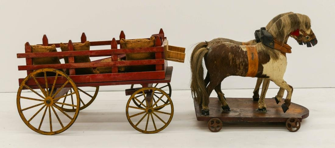 Antique Horse Drawn Wagon Pull Toy 12''x32''x10''. - 3