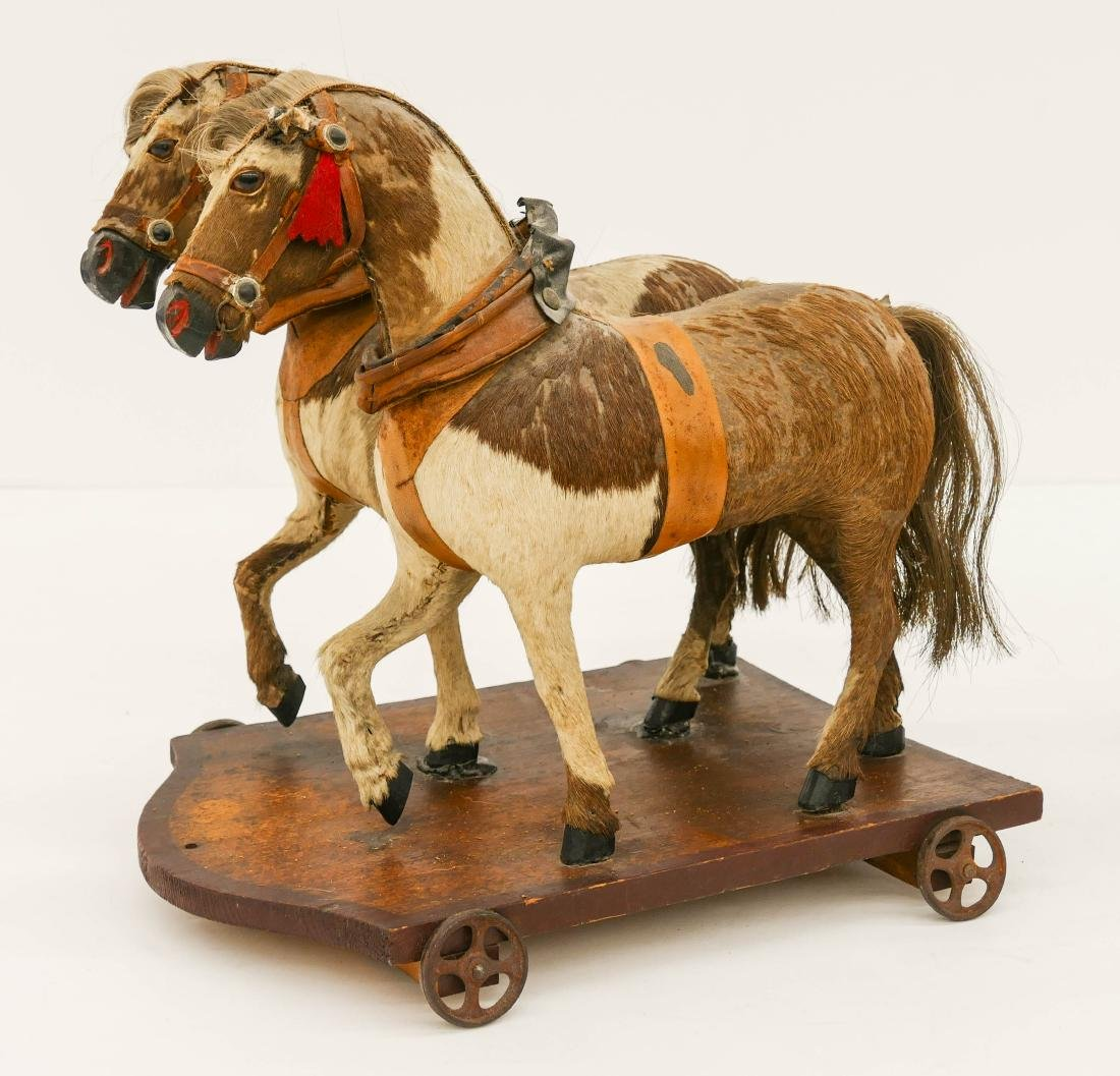 Antique Horse Drawn Wagon Pull Toy 12''x32''x10''. - 4