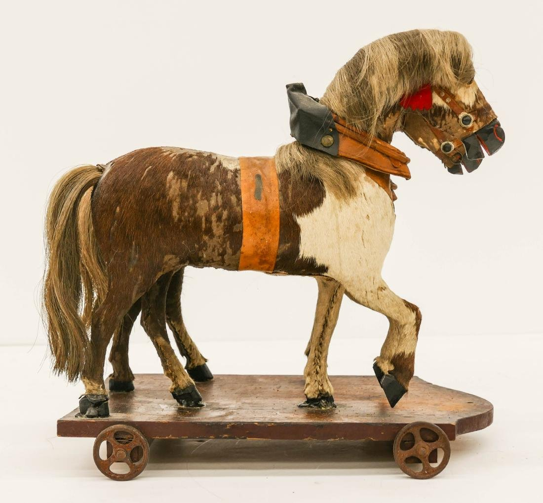 Antique Horse Drawn Wagon Pull Toy 12''x32''x10''. - 5