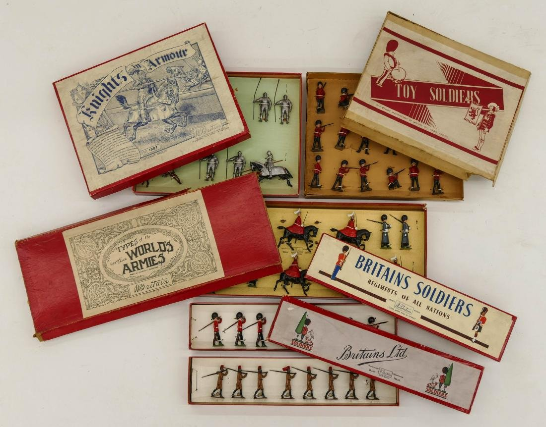 5pc Vintage Britains English Toy Soldier Sets in Boxes.