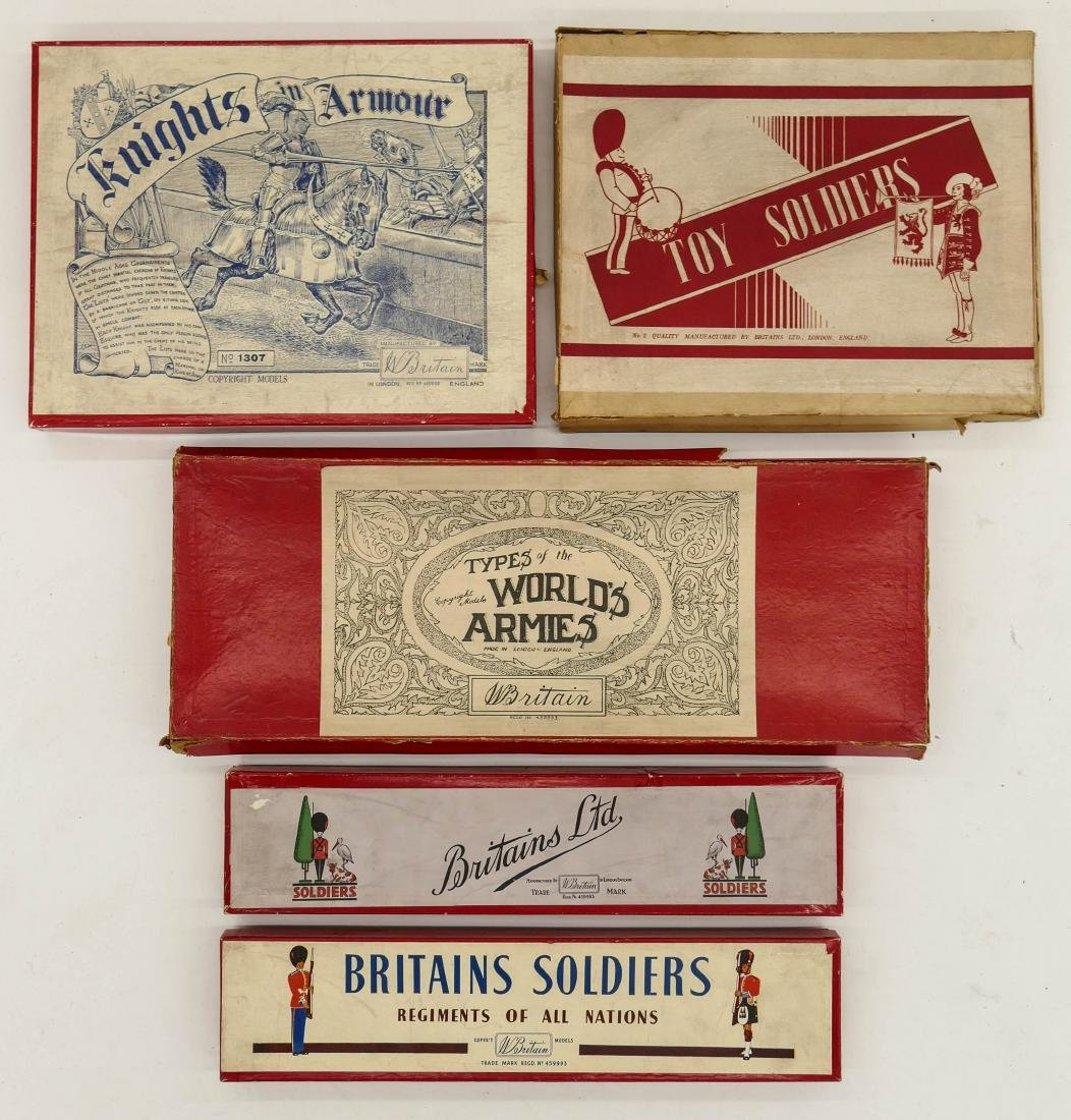 5pc Vintage Britains English Toy Soldier Sets in Boxes. - 3