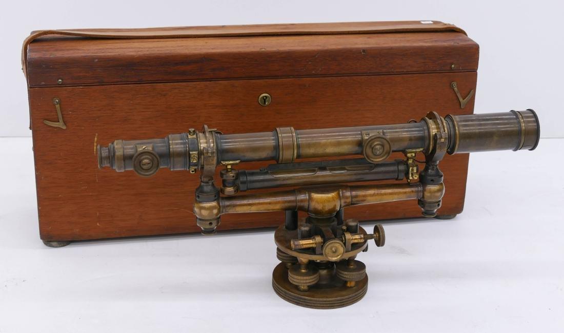 Antique W.&L.E. Gurley Brass Transit Level in Case