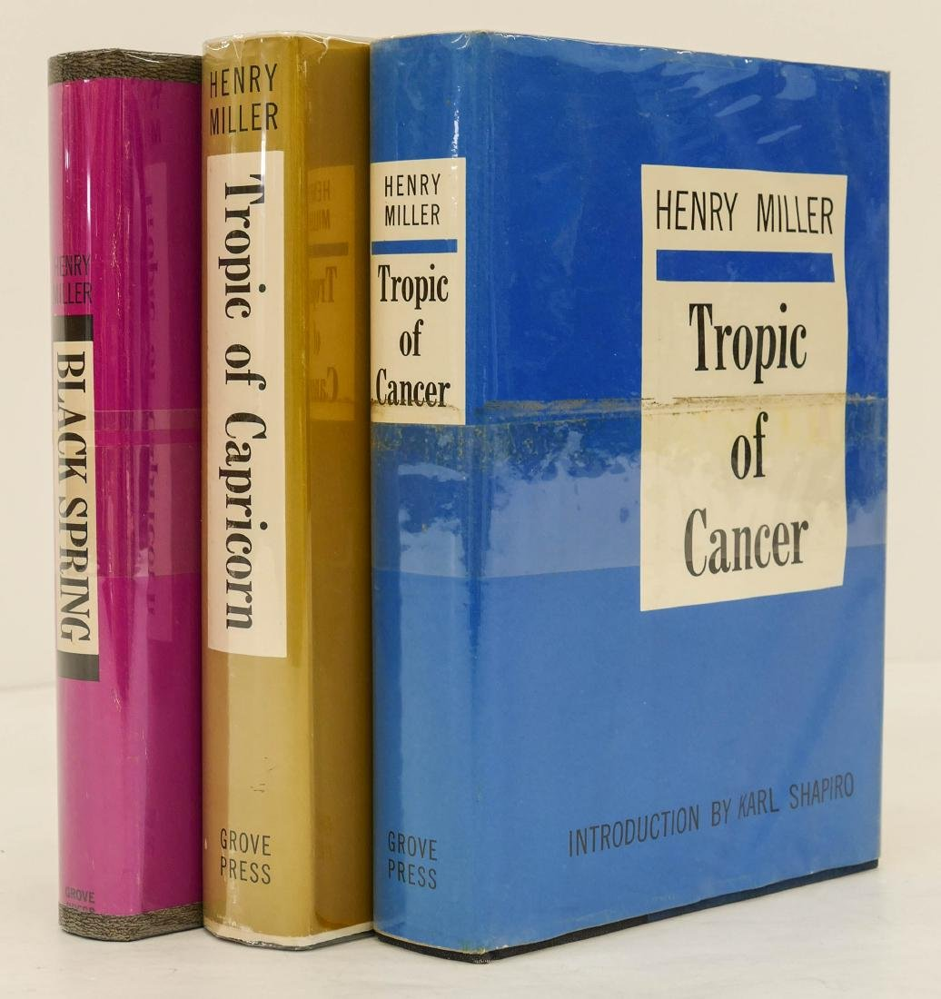 3pc Henry Miller First Edition Books with Dust Jackets.