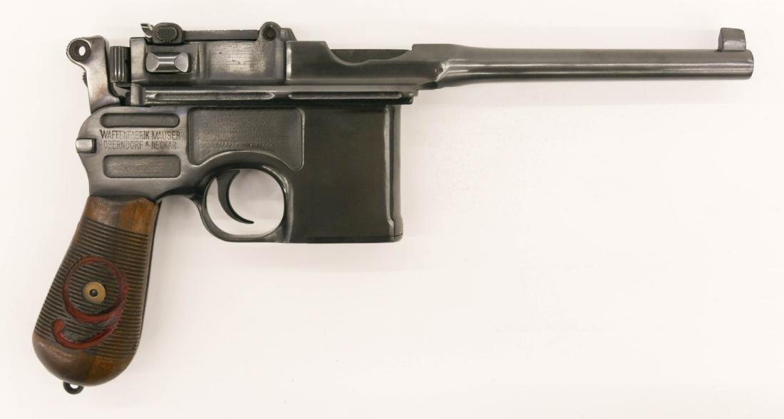 German Mauser C96 Broomhandle Red 9 Semi Automatic
