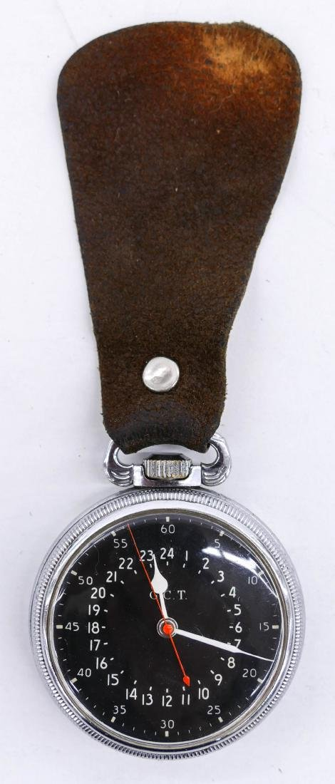 Hamilton 4992B Military Pocket Watch with Leather Fob. - 3