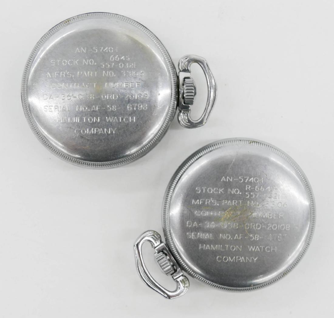 2pc Hamilton 4992B Military Pocket Watches. Serial - 2
