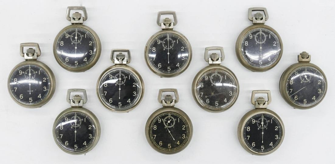 10pc Elgin Military Type  A-8 Stop Watches. Manual 15