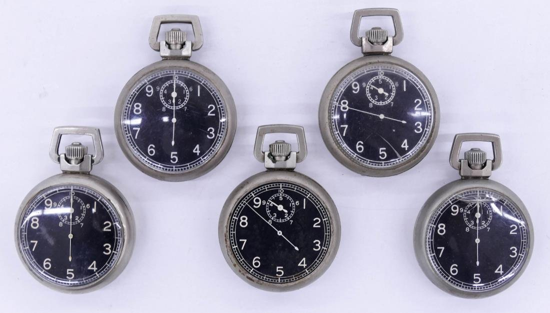 5pc Elgin Military Type A-9 Gold Back Stop Watches.