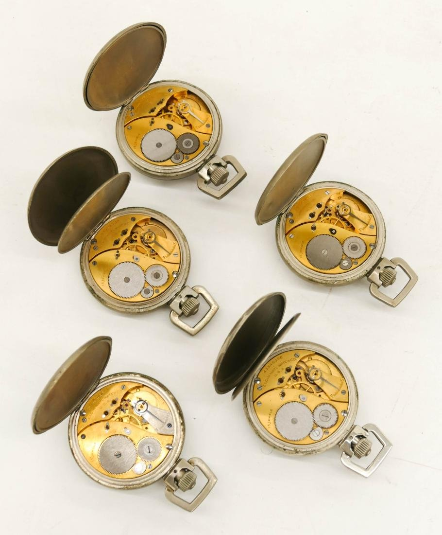 5pc Elgin Military Type A-9 Gold Back Stop Watches. - 2