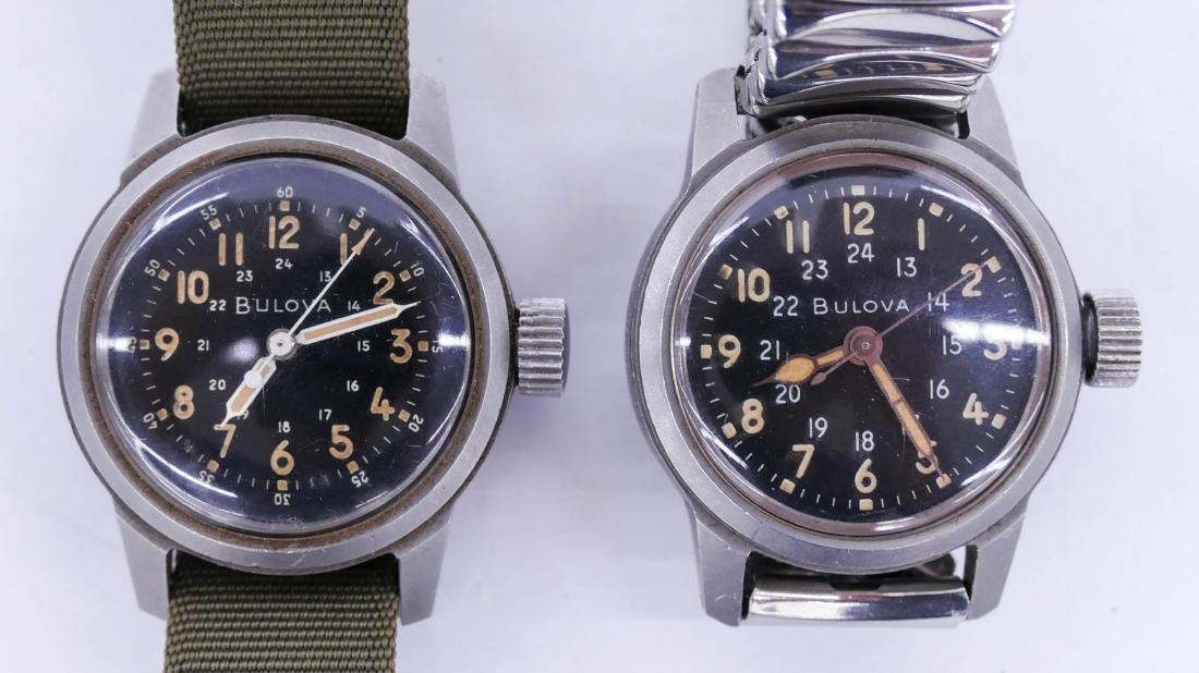 2pc Bulova Military Wrist Watches. Includes a Type