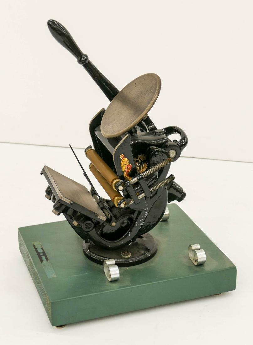 Antique Cast Iron Miniature Printing Press 15.5''x9''.