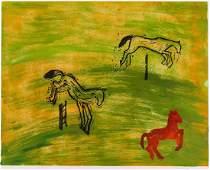 Elizabeth Sandvig Jumping Horses 2003 Monoprint on