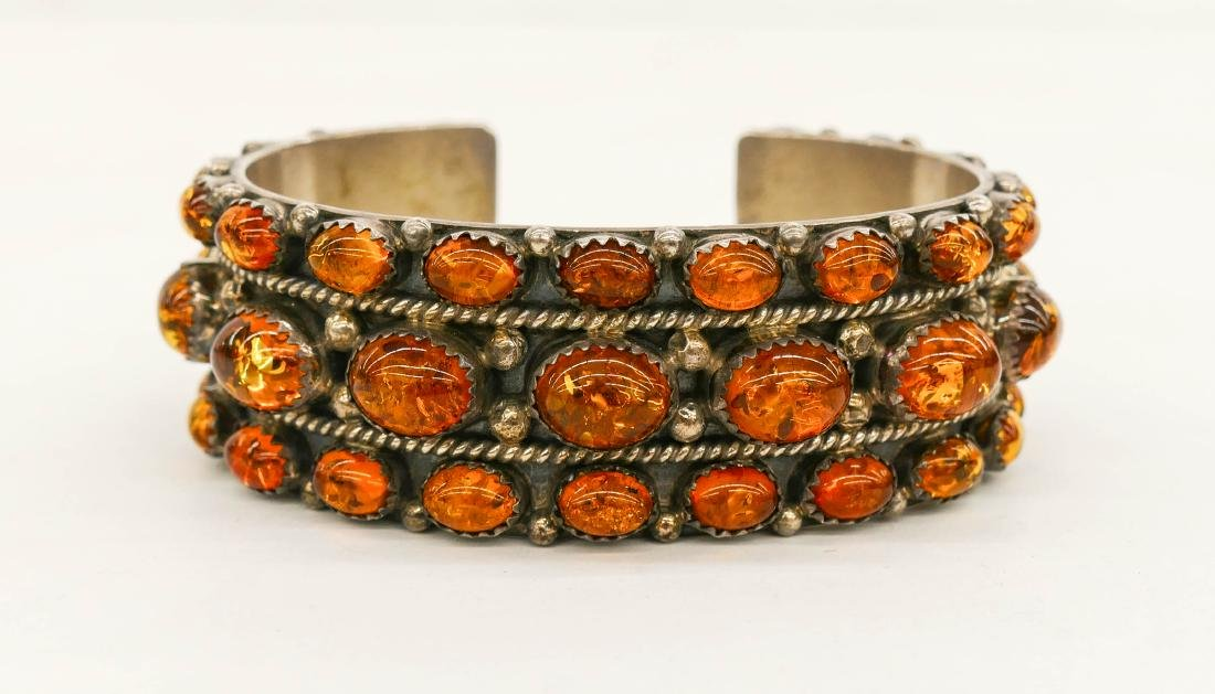 Navajo L. Begay Amber & Sterling Cuff Bracelet 3''. An