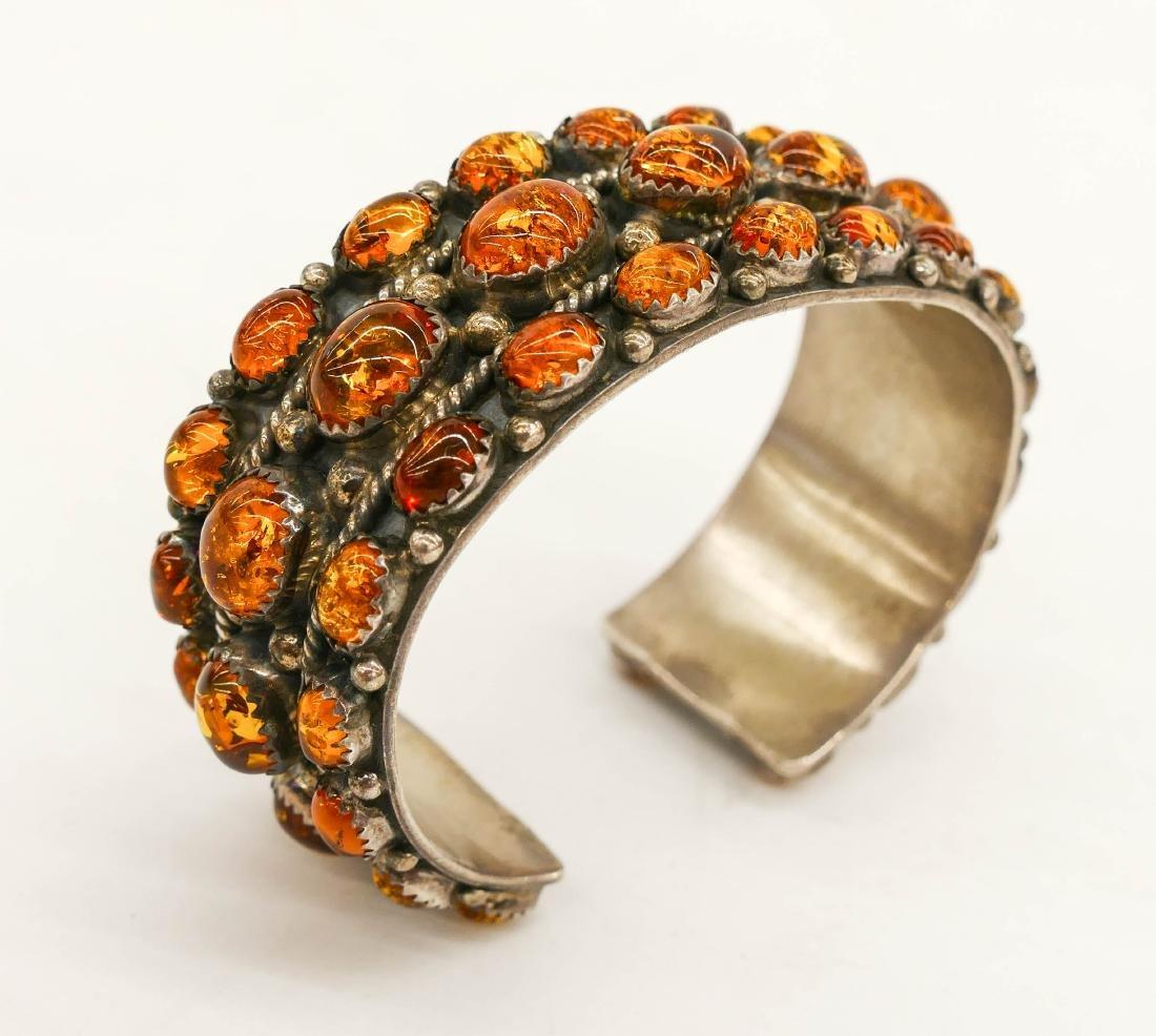 Navajo L. Begay Amber & Sterling Cuff Bracelet 3''. An - 2