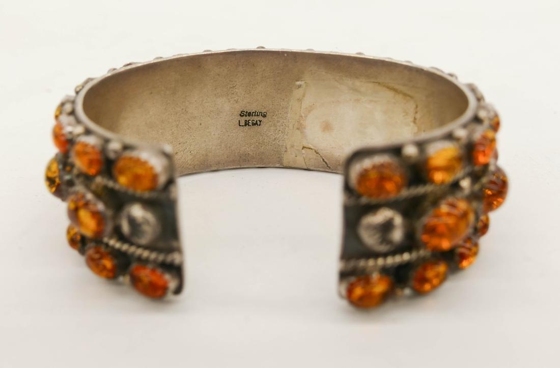 Navajo L. Begay Amber & Sterling Cuff Bracelet 3''. An - 3