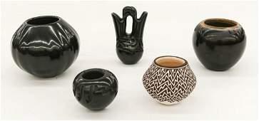 5pc Southwest Blackware Pottery Miniature Pots.