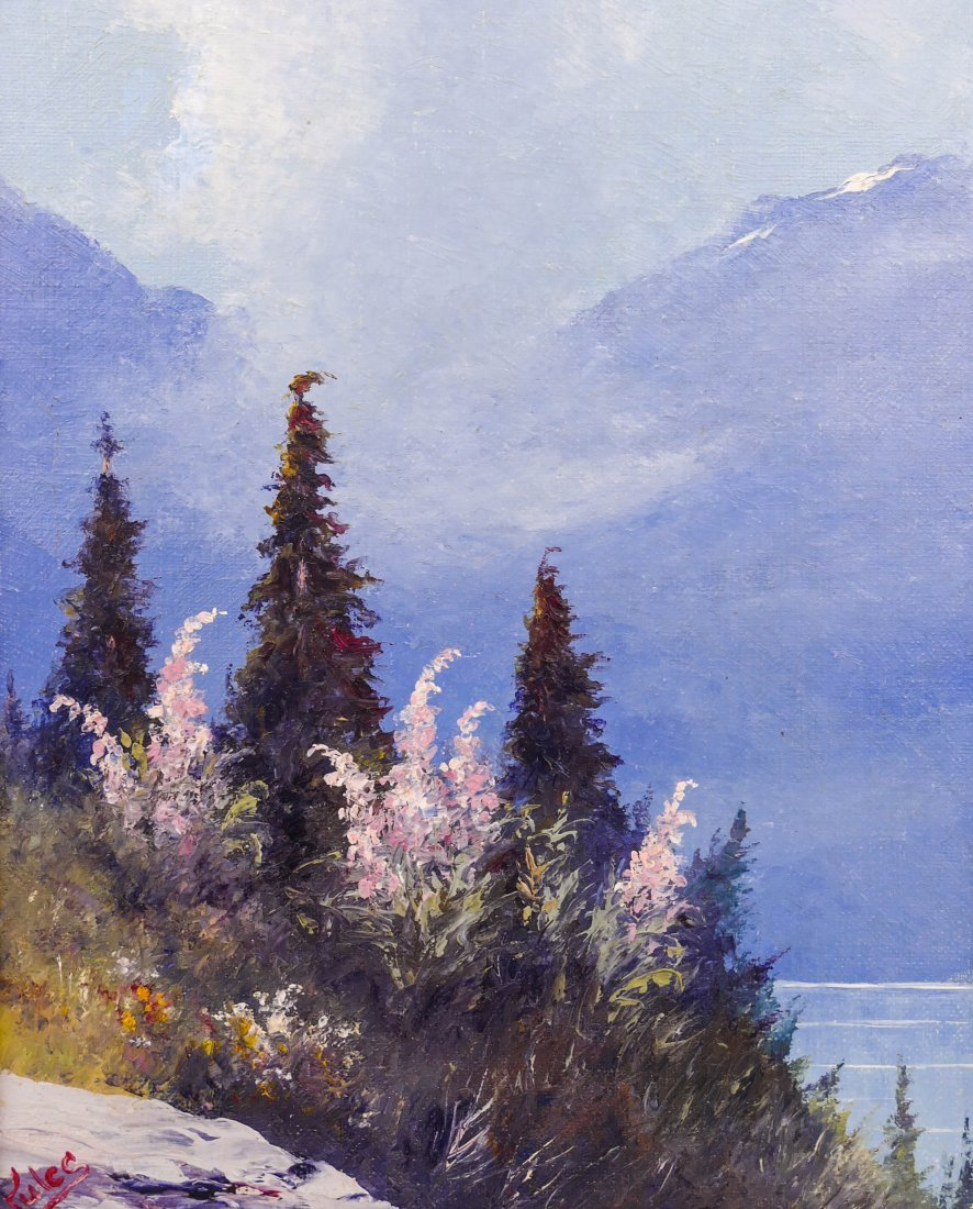 "Jules Dahlager (1884-1952 Alaska) ""Fire Weed and Spurce"